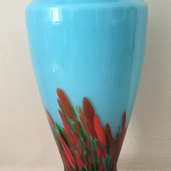 Blue bottom-up spatter with aventurine - Art Glass