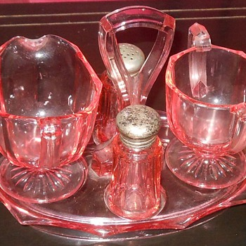 Pink Elegant Glass Caddy Cream and Sugar and Salt and Pepper - Glassware