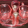 Pink Elegant Glass Caddy Cream and Sugar and Salt and Pepper