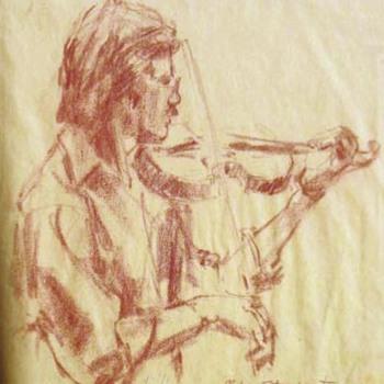 "Fouche Bolton Pastel on Paper 1978 ""Mike Stewart"" - Folk Art"