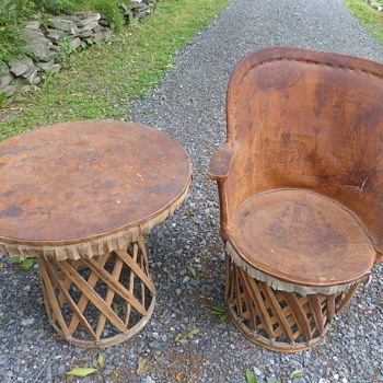 Primitive Leather & Wood Table & Chair - Furniture