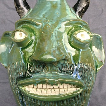 Green Devil Face Jug made by Randy Tobias NC - Pottery