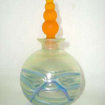Kralik Iridescent Veined Bottle - Art Glass