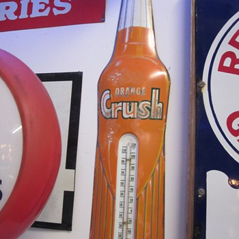 Vintage Thermometers, Orange Crush, Red Seal Battery, Rislone, and Royal Crown Cola.