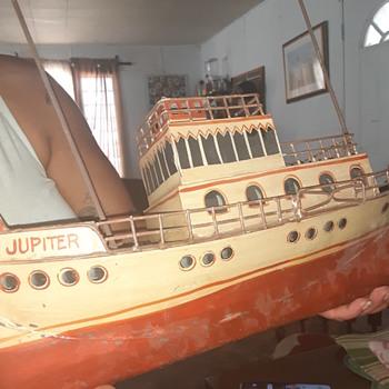 "Old 18"" Tin Jupiter Tugboat - Folk Art"