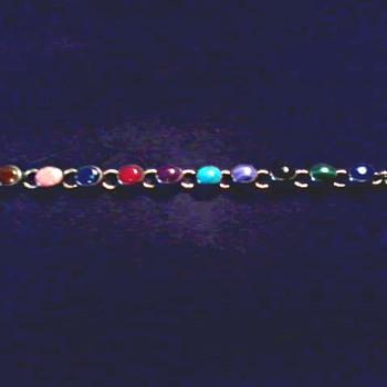 Vintage Silver and Semi-Precious 10 Stone Toggle Clasp Bracelet / Circa 20th Century - Fine Jewelry