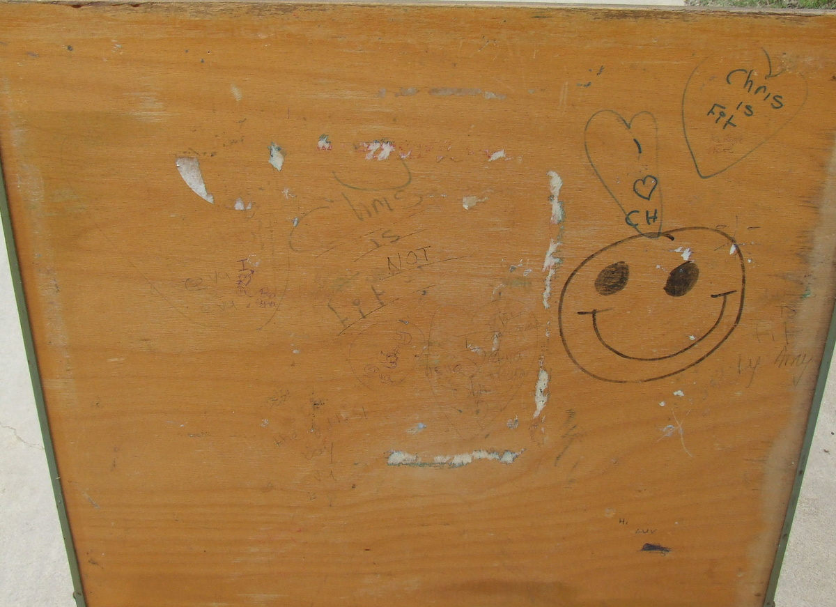 Great Old Wooden School Desk-Complete With Graffiti ...