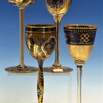 Wine Glasses from Bohemia (Haida) - Art Glass