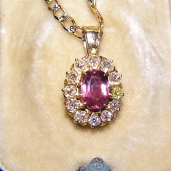Antique Victorian Pink Sapphire OMC Diamond 14k Pendant  - Fine Jewelry