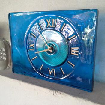 Solid blue glass clock - Art Glass