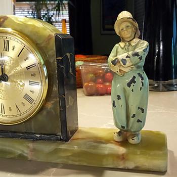 J.B. Hirsch, Green Onyx and Black Marble, Dutch Boy Clock, 1928-31 - Clocks