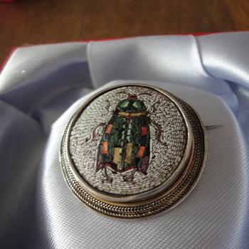 Micro Mosaic Vermeil Beetle Brooch - Fine Jewelry