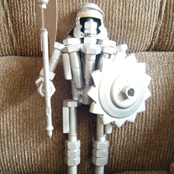 VINTAGE METAL WARRIOR/GLADIATOR(16 INCHES tall) made out of car parts and screws - Figurines