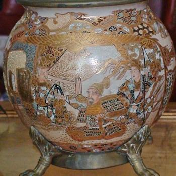 Satsuma Pottery Bowl Lamp Base Circa 1890 - Asian