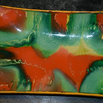 Glass Plates with Swirled Paint Design on Back - Glassware