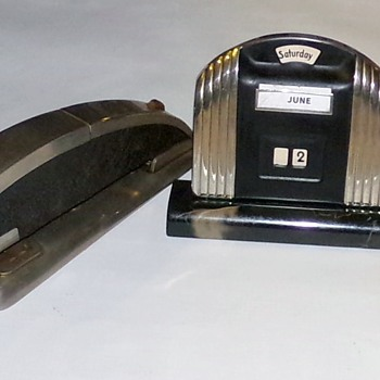 Art Deco Period Stapler and Perpetual Calendar - Office