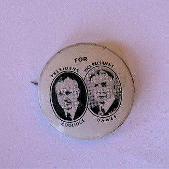 Coolidge Dawes Political Jugate Pinback Button 1924