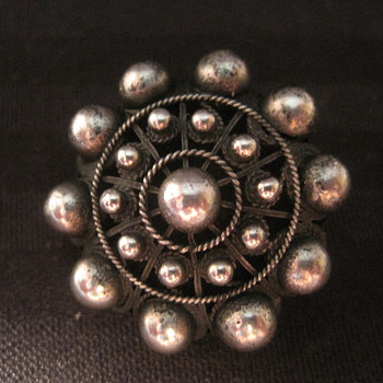 Sterling Silver Round Dome Beaded Pin Brooch - Fine Jewelry