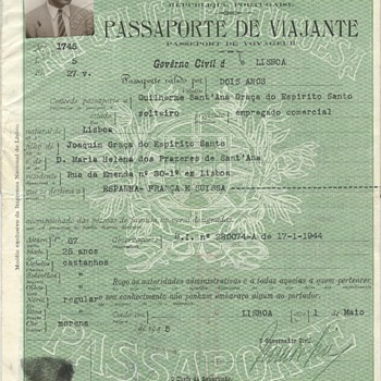 1945 soccer players passport - Paper