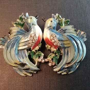 Coro Duette bluebirds clips/brooch  - Animals