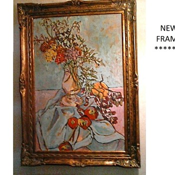 "New Frame For My ""Rita Schuenemann"" Oil On Canvas/ ""Mums With Fruit"" 24""x 36""/ Circa 1985 - Fine Art"