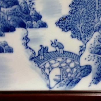 Chinese Blue & White Landscape Tile - Pottery