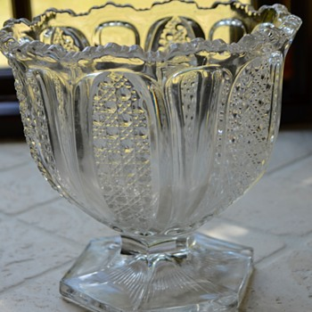 EAPG Footed Cut Glass Bowl - Glassware