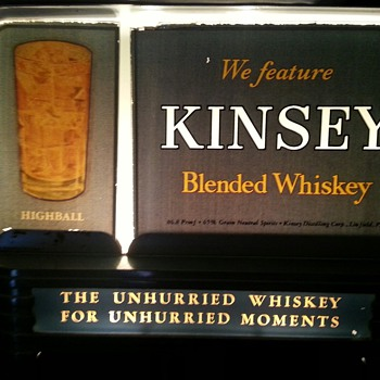 Kinsey Blended Whiskey Lit Glass & Steel Sign - Signs