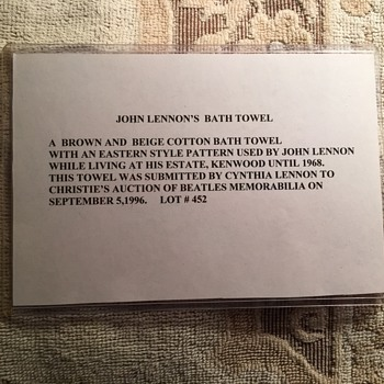 John Lennon's owned and used bath towel. - Music Memorabilia