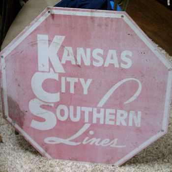 Vintage Kansas City Southern Railway sign - Signs