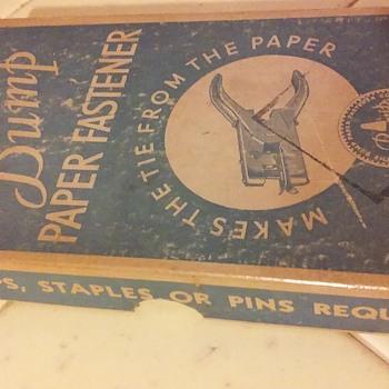 The BUMP PAPER FASTENER, in its original box