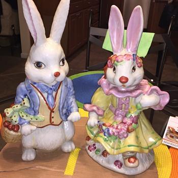 "Vintage Pair of  ceramic rabbits 14"" tall  unknow year no mfg. Mark  - Animals"
