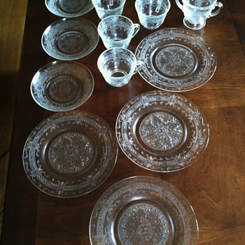 Clear Depression glass embossed raised print no seams . Bought at my first local auction. - Glassware