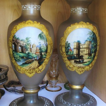 Very large pair of enameled vases - Art Glass