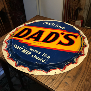 "1940's-1950's ""DAD'S"" Root Beer Tin Sign - Signs"