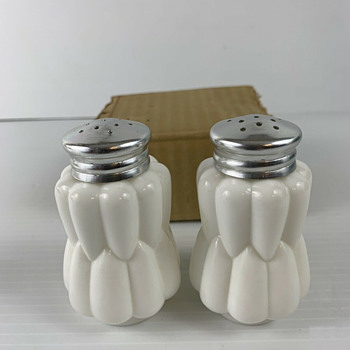 J. M. Fields, milk glass salt & pepper shakers, Japan label and original price tag, 1970s - Glassware