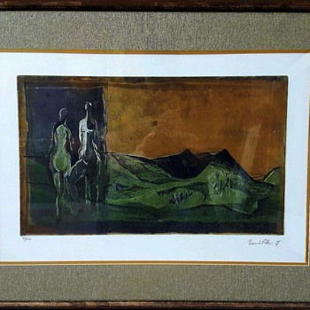 Two Nudes in Landscape Etching Print by Karl Brandstatter - Fine Art