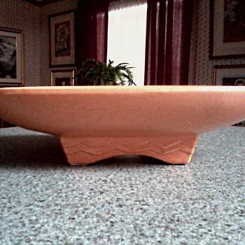 McCoy Shallow Pedestal Dish #1301 / Pumpkin Color Speckled Glaze /Circa 1950's - Pottery
