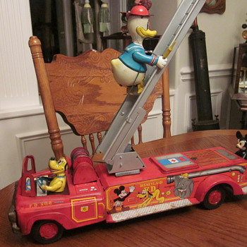 1950's Walt Disney Fire Engine with Pluto, Donald, and Mickey - Model Cars