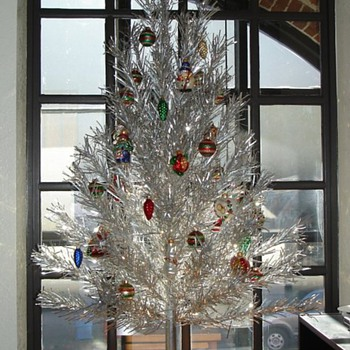 my Evergleam aluminum Christmas tree on display in my office. - Christmas