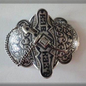 "Russian Silver Niello Belt Buckle marked ""KAVKAZ"" (Caucasus) Age 1896-1908 - Silver"
