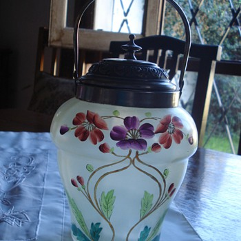Satinized clear glass biscuit jar hand enameled  - Art Nouveau