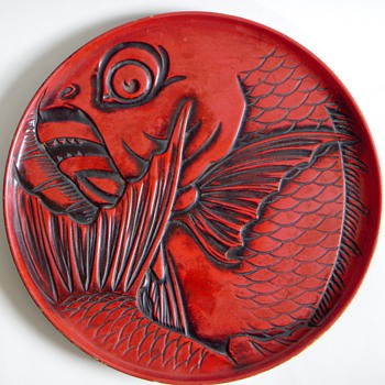 Carved Red Lacquer Plate~Deep Cut Carp design, Takito, Ogawa & Co - Asian