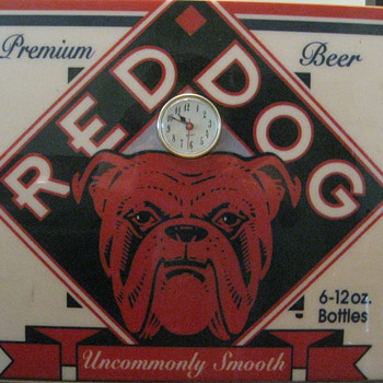 Red Dog Beer sign with Clock - Breweriana