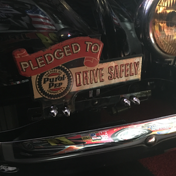 "1930's "" Pledged To Drive Safely "" Pure Oil  license plate topper. - Petroliana"