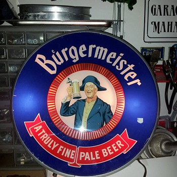 Antique BURGERMEISTER Beer Illuminated Color Motion Sign My most treasured picks , FOUND TREASURES from my travels - Breweriana