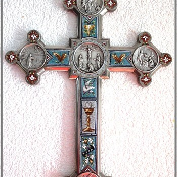 "Rare Large Antique Italian Ground Tour Era Micro Mosaic 11.08 x 7.9"" Hanging Crucifix - Fine Jewelry"