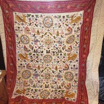 Vintage Handmade Quilt Topper - Folk Art