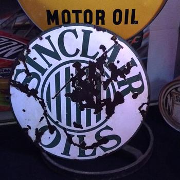 1920's Sinclair Oils  double-sided porcelain sign