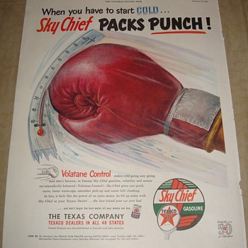 "Texaco Sky Chief ""Packs Punch"" Magazine Ad"